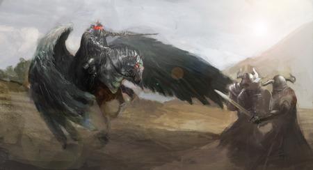 diabolic: dark pegasus fighting in battle