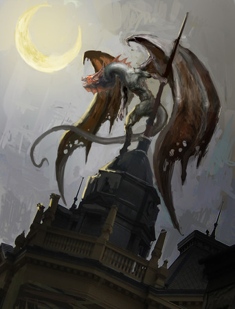 valkyrie: dragon on roof tops of city Stock Photo