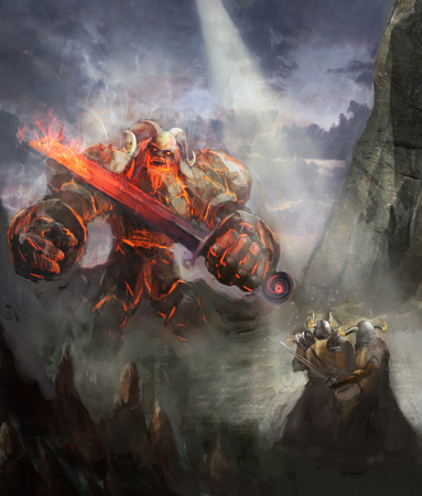 wrath: fire giant attacking two heroes