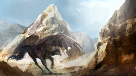 hippogriff running under mountains