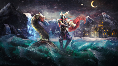 norse: Thor fighting serpent, Norse mythology