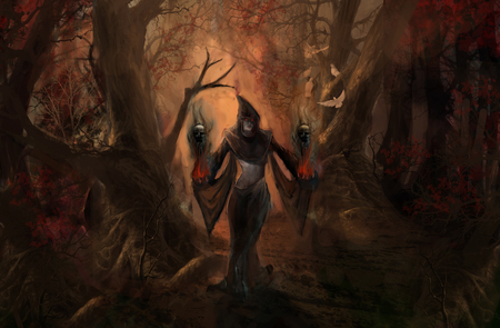 dark elf: dark elf in dark forest Stock Photo