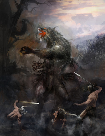 immortal: werewolf attacking soldiers Stock Photo