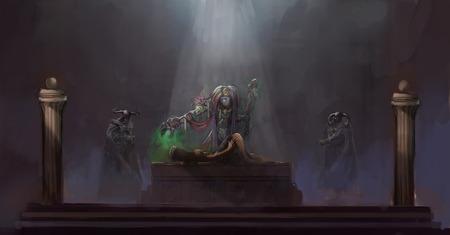 summoning: voodoo magic sacrificing man Stock Photo