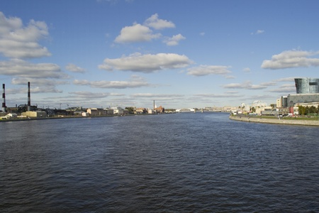 Panorama of Saint-Petersburg from bridge, Russia Stock Photo
