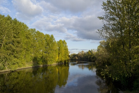 Ohta river in Saint-Petersburg, Russia