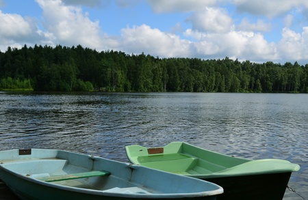 Gdanovskii lake with boards