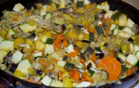 Ratatouille in pan closeup