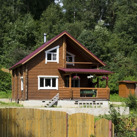 Wooden dacha in Russia photo