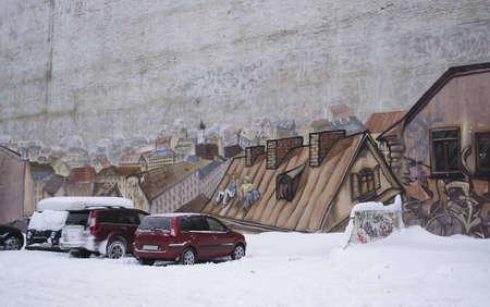 Graffiti on a wall in Vyborg, Russia