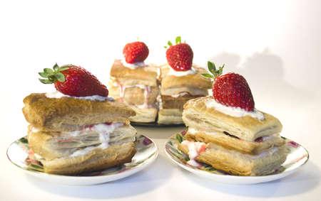 Napoleon cream pastries with strawberry