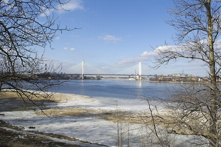 neva: suspension bridge over the river Neva Stock Photo