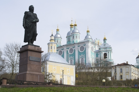 Monument to Kutuzov and Cathedral of the Blessed virgin Mary's Assumption Stock Photo - 13893757