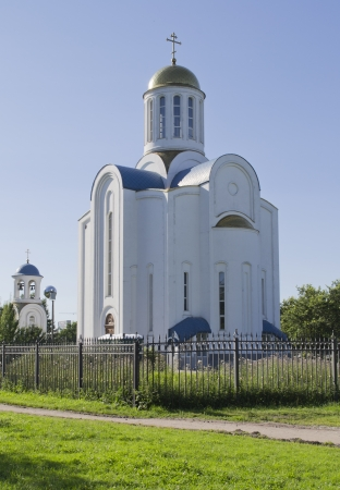 malaya: The Church of the Dormition of the MostHoly mother of God on Malaya Okhta (Blockade Temple) in Saint-Petersburg, Russia
