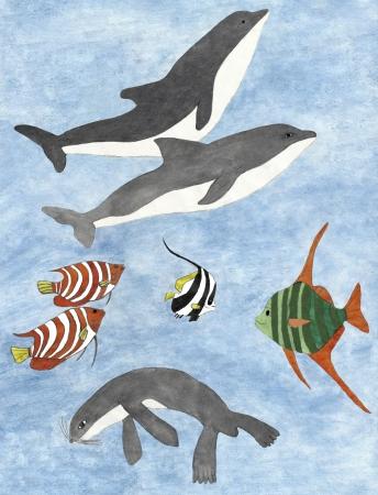 Pintura de animais marinhos feitos por aquarel