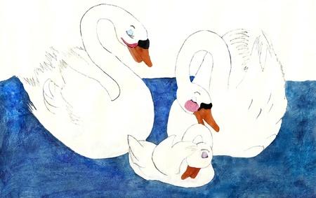 aquarel: Painting of swan family in water