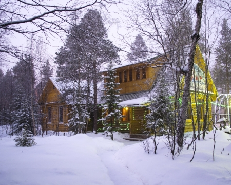Wooden house in the forest, Monchegorsk, Russia