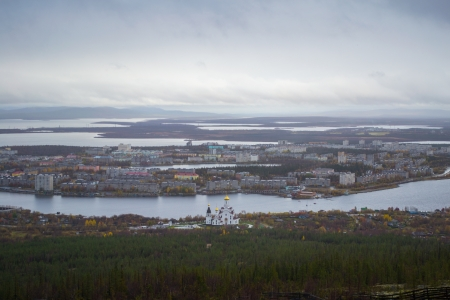 Panorama of Monchegorsk town in Murmansk region, Russia from mountain high