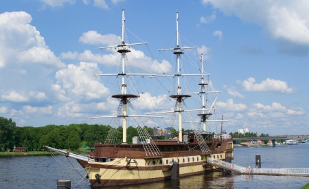 flagship: The flagship Frigate in Great Novgorod city, Russia
