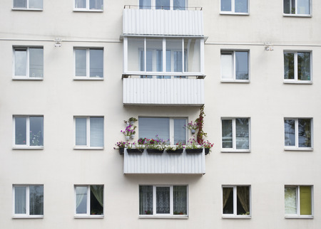 High Rise Apartment With Balcony Flowers Stock Photo