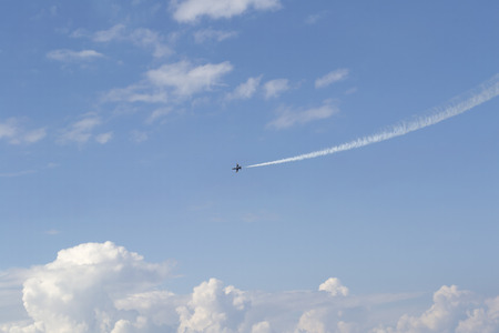Russian military airplane in blue sky