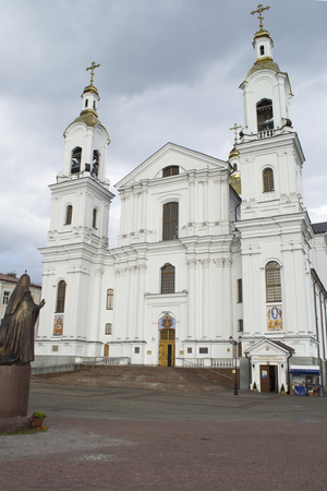 Svyato-Uspensky Cathedral and the monument to Patriarch Alexy II in Vitebsk, Belarus Editorial