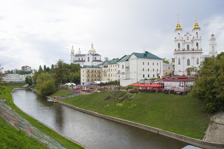 Resurrection Church, The Cathedral of the assumption, Vitba river and cafe Duke Algirdas in Vitebsk city, Belarus (resurrection square, 1)
