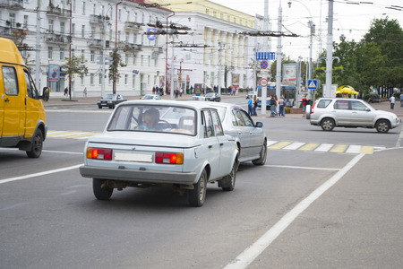 Old automobile Wartburg 353 on street of Vitebsck city, Belarus. Wartburg 353, known in some export markets as the Wartburg Knight, is a medium-sized family car, produced by the East German car manufacturer Wartburg. Stock Photo