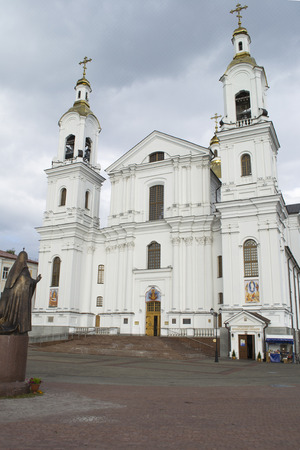 Svyato-Uspensky Cathedral and the monument to Patriarch Alexy II in Vitebsk, Belarus Stock Photo