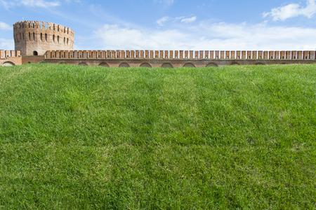 Smolensk, Russia - September 02, 2013 - Smolensk fortress wall with the Gorodetskaya tower Eagle