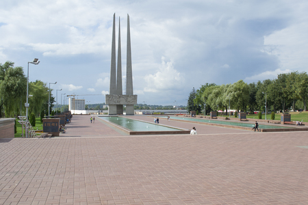 Memorial to Soviet soldiers, partisans and underground fighters Three bayonet in Victory square of Vitebsk, Belarus