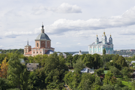 Smolensk, Russia - September 02, 2013 - Holy assumption Cathedral and St. Georges Church