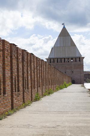 redbrick: Smolensk, Russia - September 02, 2013 - Avramievskie gates of the Smolensk fortress wall