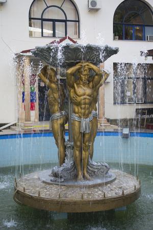 Fountain Golden men in Lazarevskoye town, Sochi, Russia