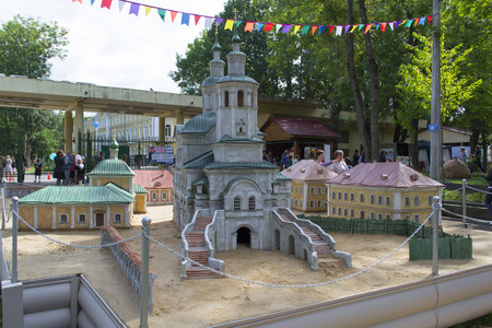 Smolensk, Russia - September 02, 2013 - Miniature of part of Smolensk with model of Avraamiev monastery of the Transfiguration in a park