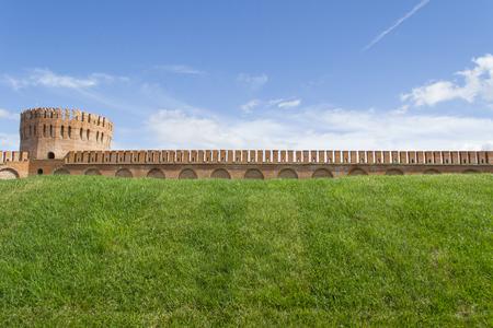 Smolensk, Russia - September 02, 2013  - Smolensk fortress wall with the Gorodetskaya tower (Eagle) Editorial