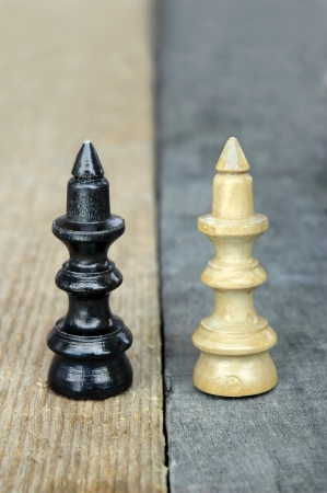 Conceptual photo of similarity and difference with old chess queen figures  Stock Photo