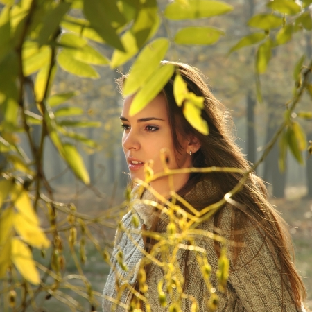 Pensive woman behind tree   leaves   branch
