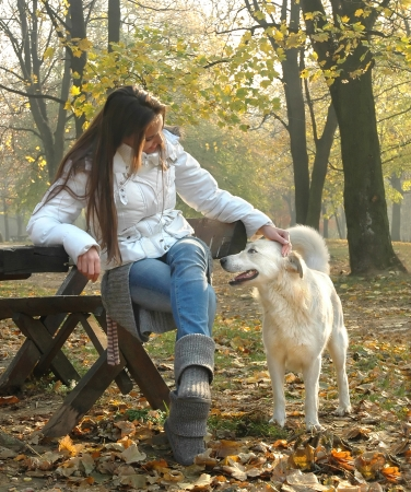 young woman sitting on bench in autumn park cuddling dog  pat the dog