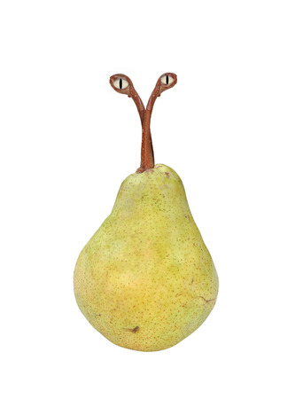genetically: imagined genetically modified pear with animal molecules, pear with eyes