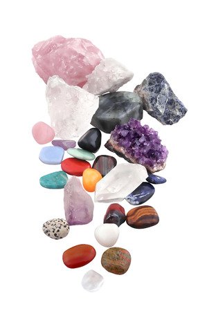 composition of various crystals on white background  Various as kinds, shapes, sizes, and processes  studio light
