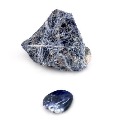 unprocessed: Rough and smooth, processed and unprocessed, big and small, blue crystals on white background