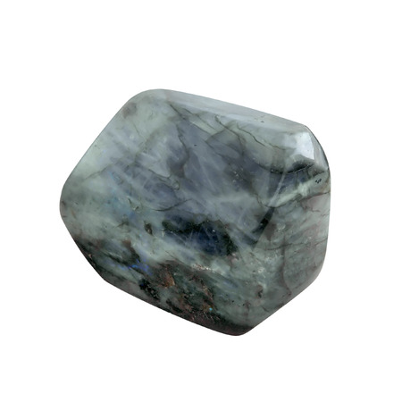 Big smooth, processed, polished, Labradorite crystal stone   gemstone  on white background
