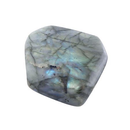 labradorite: Big smooth, processed, polished, gemstone  crystal  on white background