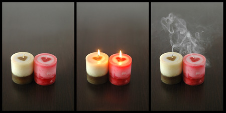 triptych: conceptual  triptych of passion transience and temporariness Stock Photo