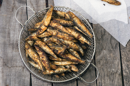Pile of fried smelt fishes Stock Photo