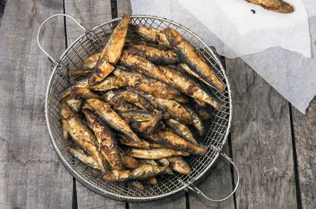 Pile of fried smelt fishes Stock Photo