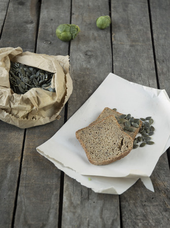 unleavened: unleavened bread with pumpkin seed and brussels sprouts