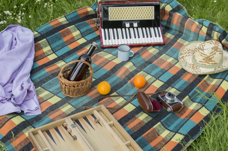Accessories for picnic on plaid blanket Imagens