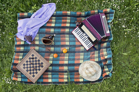 Top view of picnic accessories Stock Photo